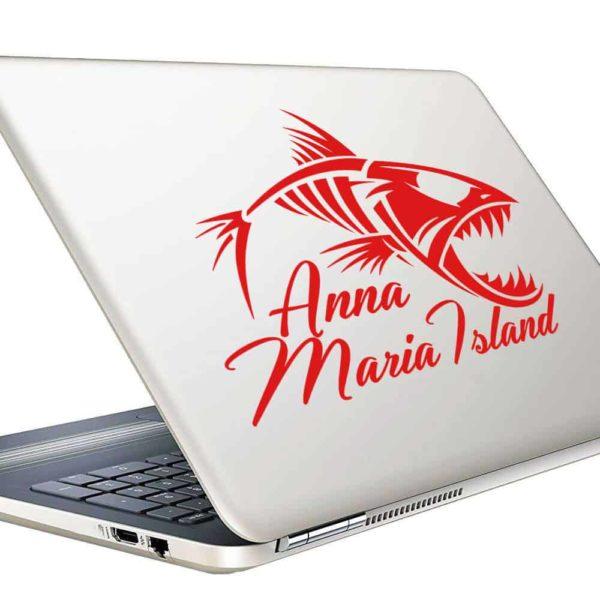 Anna Maria Island Fish Skeleton Vinyl Laptop Macbook Decal Sticker