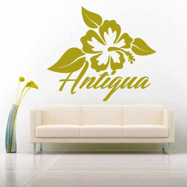 Antigua Hibiscus Flower Vinyl Wall Decal Sticker