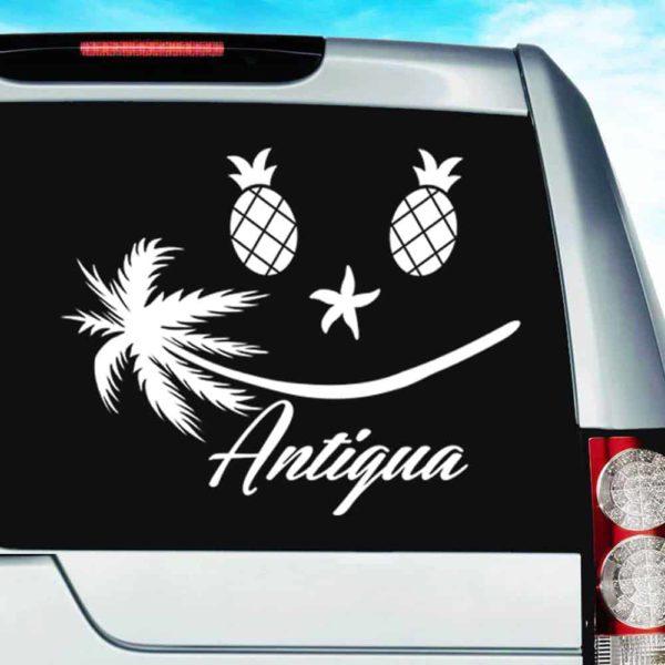 Antigua Tropical Smiley Face Vinyl Car Window Decal Sticker