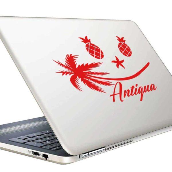 Antigua Tropical Smiley Face Vinyl Laptop Macbook Decal Sticker