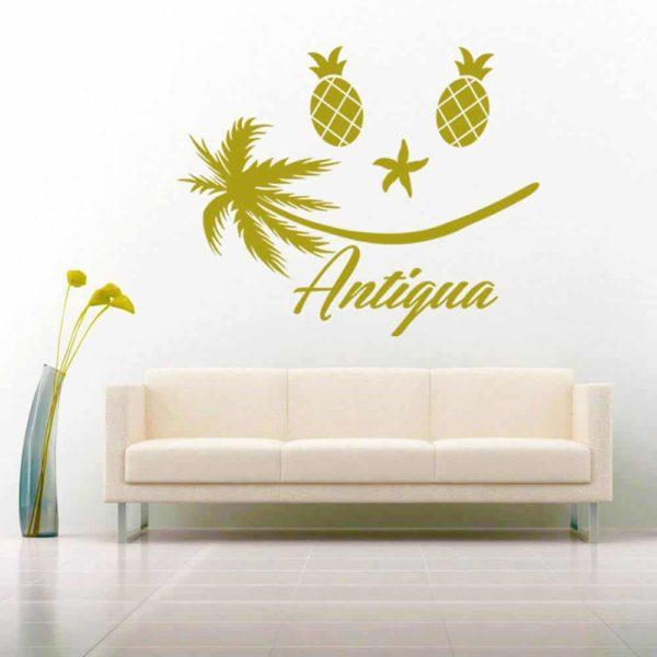 Antigua Tropical Smiley Face Vinyl Wall Decal Sticker