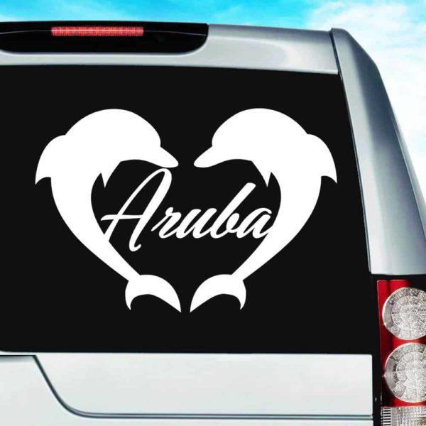 Aruba Dolphon Heart Vinyl Car Window Decal Sticker