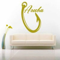 Aruba Fishing Hook Vinyl Wall Decal Sticker