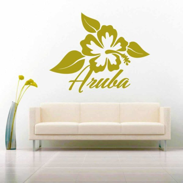 Aruba Hibiscus Flower Vinyl Wall Decal Sticker