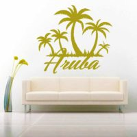 Aruba Palm Tree Island Vinyl Wall Decal Sticker