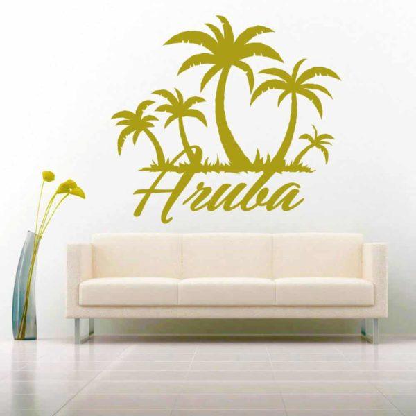 Aruba Palm Tree Island Vinyl Wall Decal Sticker