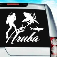 Aruba Scuba Diver With Sharks Vinyl Car Window Decal Sticker