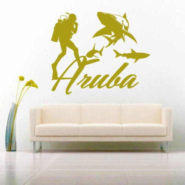 Aruba Scuba Diver With Sharks Vinyl Wall Decal Sticker