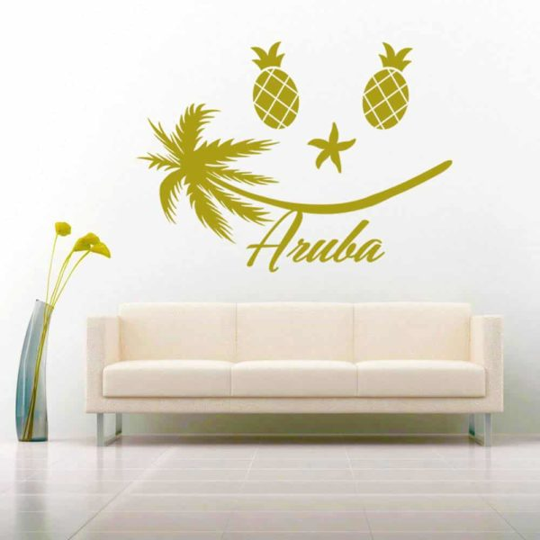 Aruba Tropical Smiley Face Vinyl Wall Decal Sticker