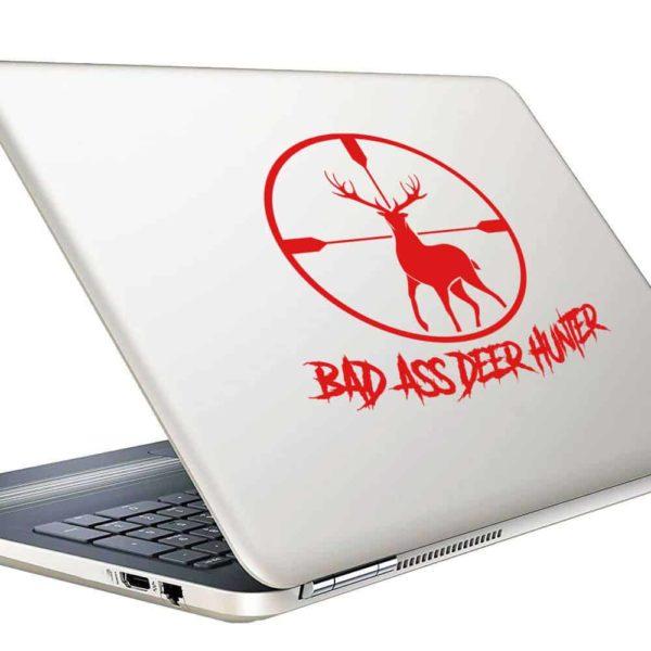 Bad Ass Deer Hunter Deer Rifle Scope Vinyl Laptop Macbook Decal Sticker