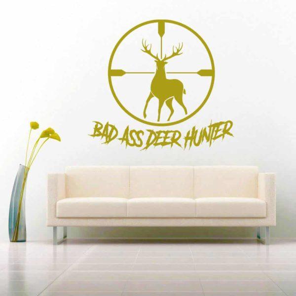 Bad Ass Deer Hunter Deer Rifle Scope Vinyl Wall Decal Sticker
