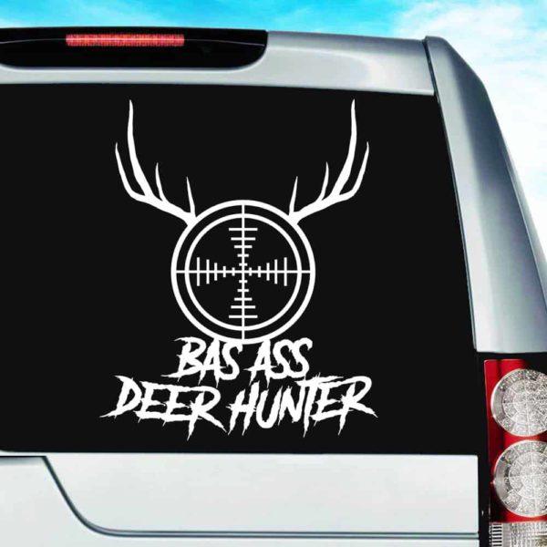 Bad Ass Deer Hunter Rifle Gun Scope Antlers Vinyl Car Window Decal Sticker