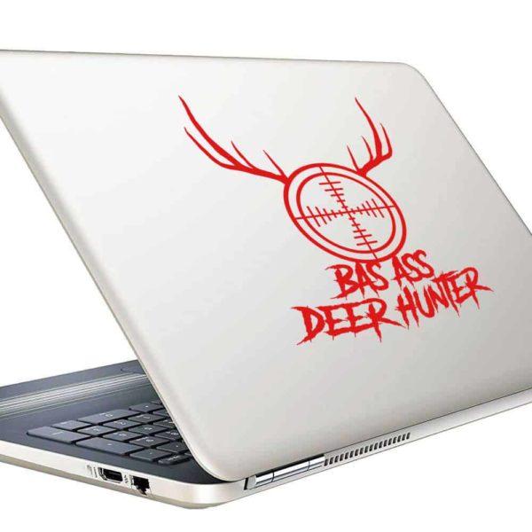 Bad Ass Deer Hunter Rifle Gun Scope Antlers Vinyl Laptop Macbook Decal Sticker