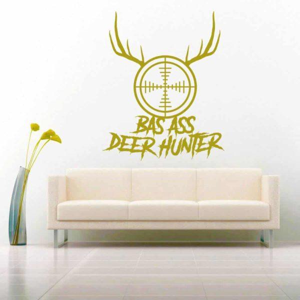 Bad Ass Deer Hunter Rifle Gun Scope Antlers Vinyl Wall Decal Sticker