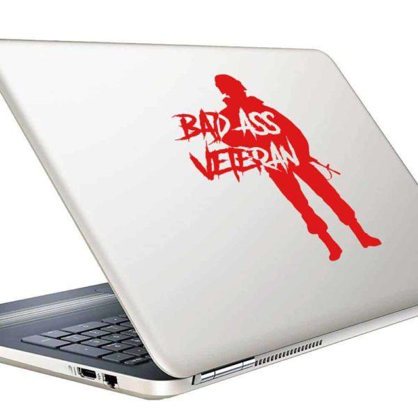 Bad Ass Veteran Vinyl Laptop Macbook Decal Sticker