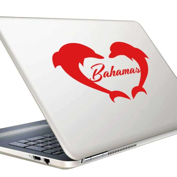 Bahamas Dolphin Heart Vinyl Laptop Macbook Decal Sticker