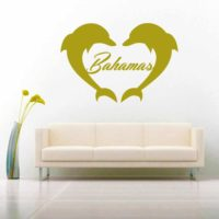 Bahamas Dolphin Heart Vinyl Wall Decal Sticker