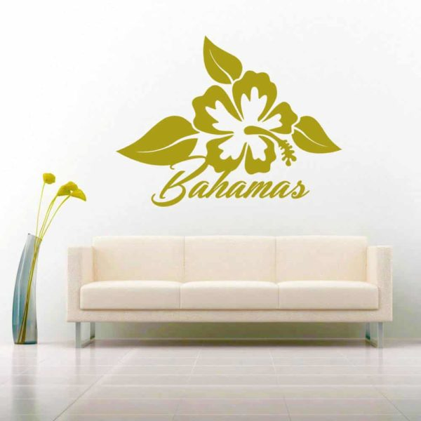 Bahamas Hibiscus Flower Vinyl Wall Decal Sticker