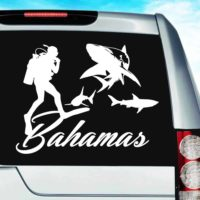 Bahamas Scuba Diver With Sharks Vinyl Car Window Decal Sticker
