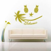 Bahamas Tropical Smiley Face Vinyl Wall Decal Sticker