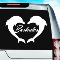 Barbados Dolphin Heart Vinyl Car Window Decal Sticker
