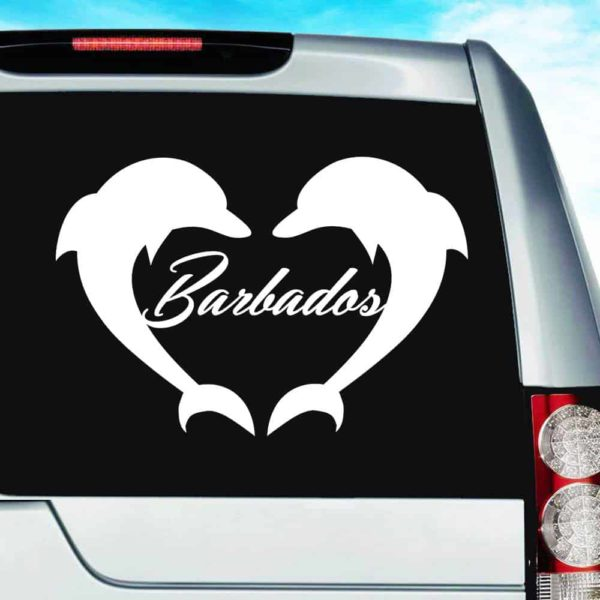 Barbados Dolphin Heart Vinyl Car Window Decal Sticker