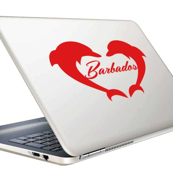 Barbados Dolphin Heart Vinyl Laptop Macbook Decal Sticker