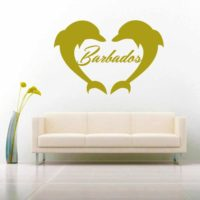 Barbados Dolphin Heart Vinyl Wall Decal Sticker