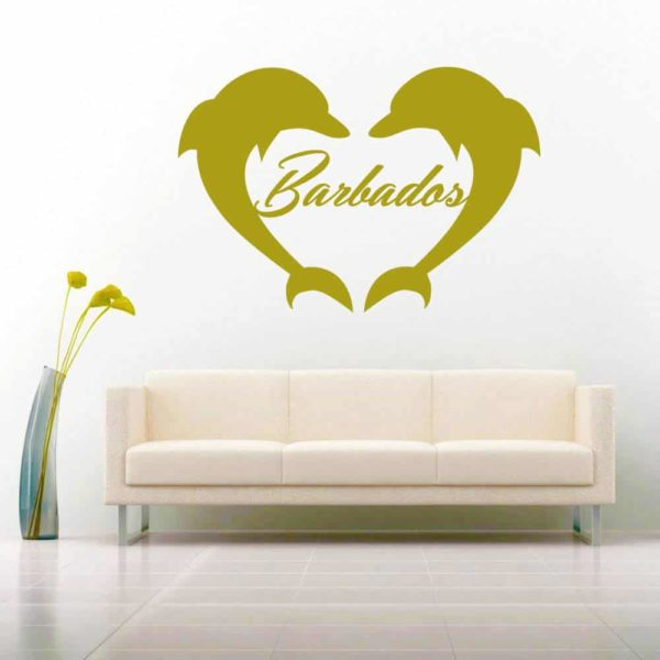 Barbados Dolphin Heart Vinyl Wall Decal Sticker