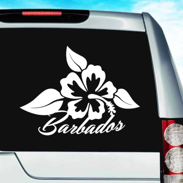 Barbados Hibiscus Flower Vinyl Car Window Decal Sticker