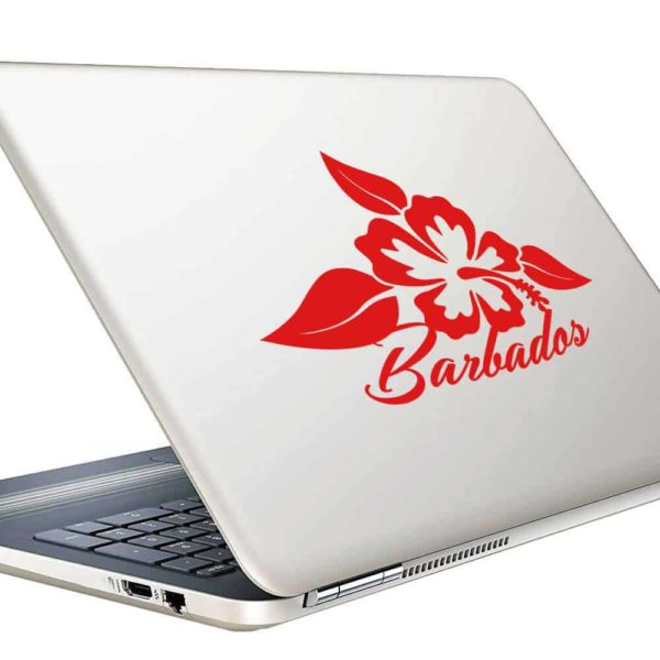 Barbados Hibiscus Flower Vinyl Laptop Macbook Decal Sticker