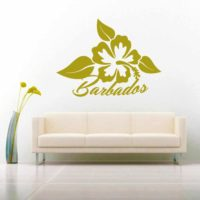 Barbados Hibiscus Flower Vinyl Wall Decal Sticker