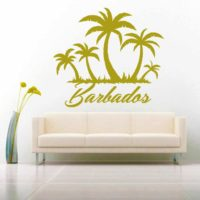 Barbados Palm Tree Island Vinyl Wall Decal Sticker