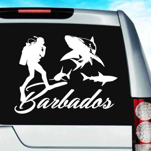 Barbados Scuba Diver With Sharks Vinyl Car Window Decal Sticker