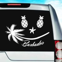 Barbados Tropical Smiley Face Vinyl Car Window Decal Sticker
