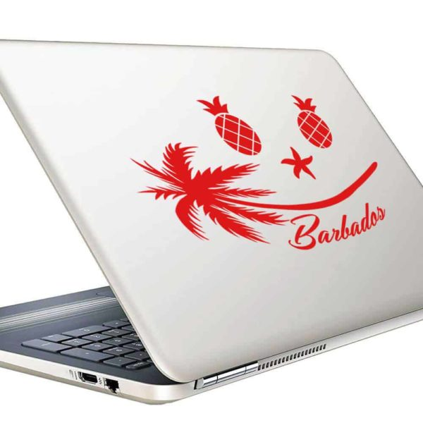 Barbados Tropical Smiley Face Vinyl Laptop Macbook Decal Sticker