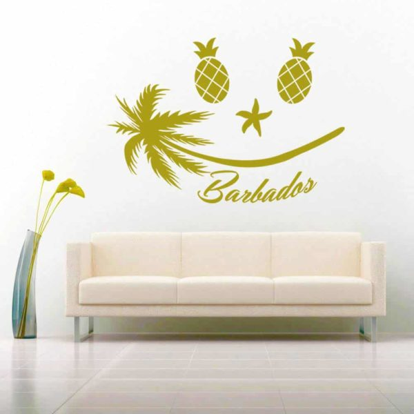 Barbados Tropical Smiley Face Vinyl Wall Decal Sticker