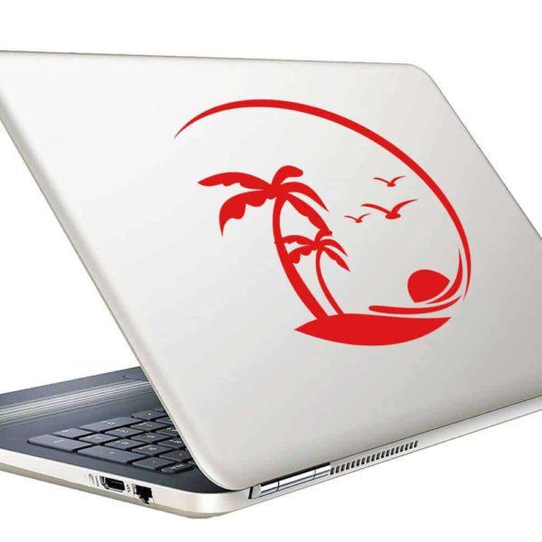 Beach Palm Tress Birds Vinyl Laptop Macbook Decal Sticker