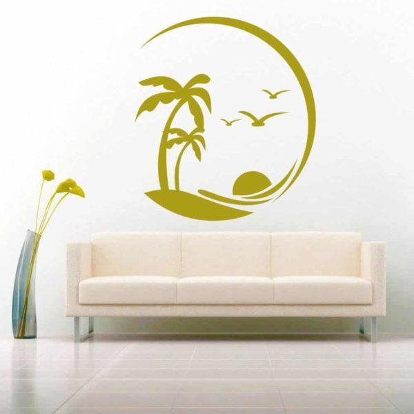 Beach Palm Tress Birds Vinyl Wall Decal Sticker