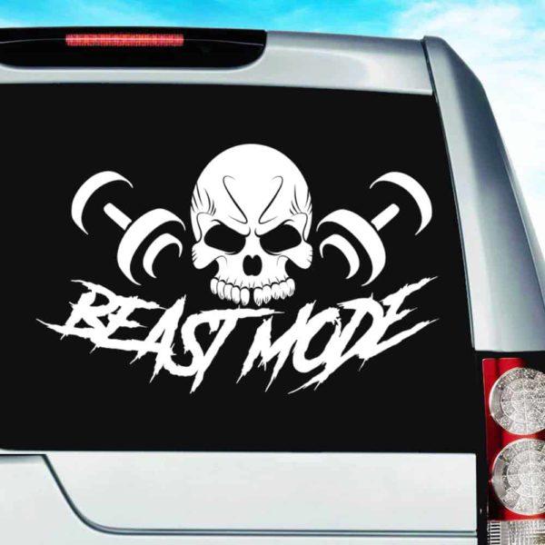 Beast Mode Skull Dumbbells Vinyl Car Window Decal Sticker