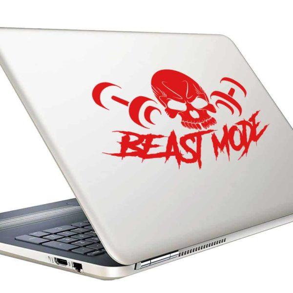 Beast Mode Skull Dumbbells Vinyl Laptop Macbook Decal Sticker