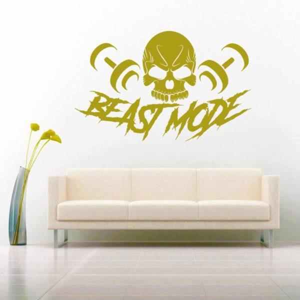 Beast Mode Skull Dumbbells Vinyl Wall Decal Sticker