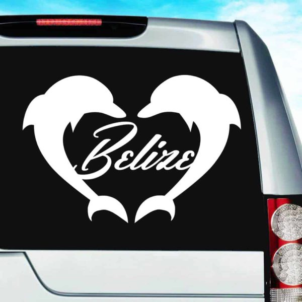 Belize Dolphin Heart Vinyl Car Window Decal Sticker