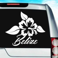 Belize Hibiscus Flower Vinyl Car Window Decal Sticker