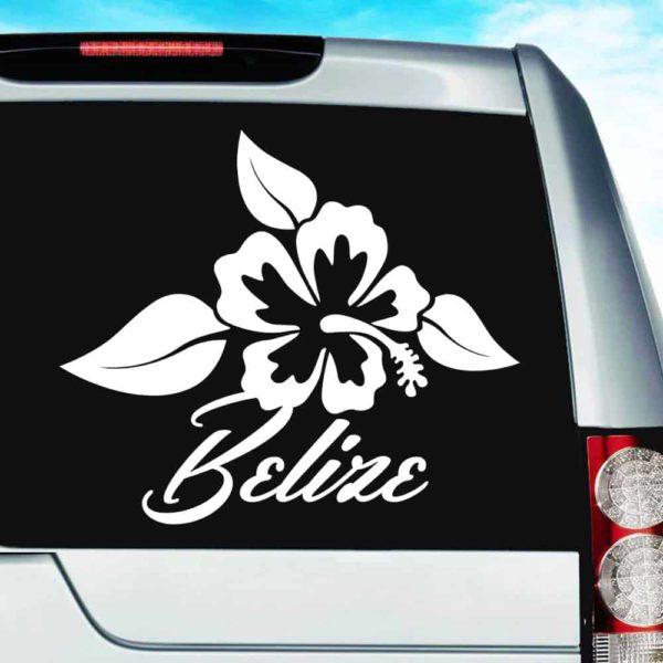 Belize Hibiscus Flower Vinyl Car Window Decal Sticker