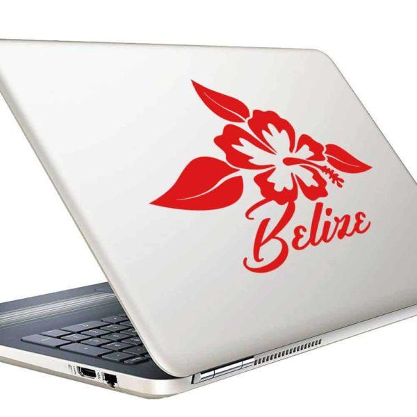 Belize Hibiscus Flower Vinyl Laptop Macbook Decal Sticker