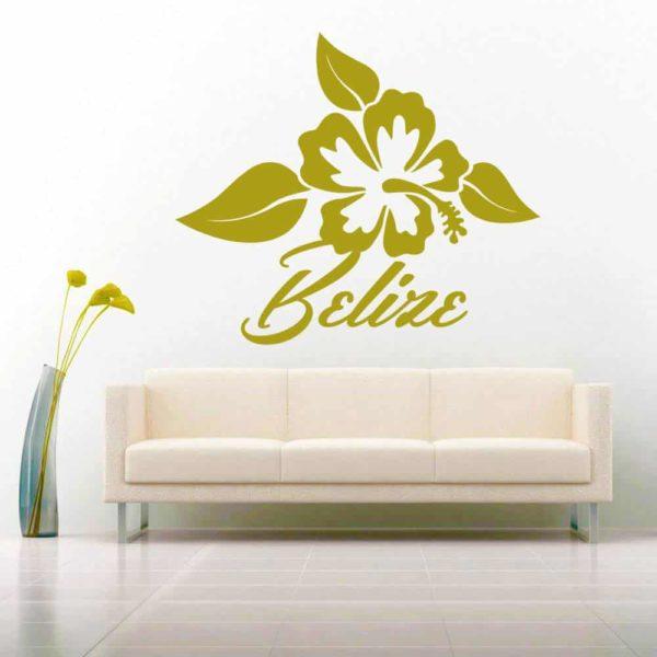 Belize Hibiscus Flower Vinyl Wall Decal Sticker