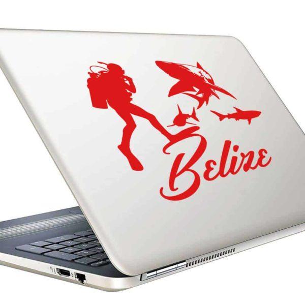 Belize Scuba Diver With Sharks Vinyl Laptop Macbook Decal Sticker