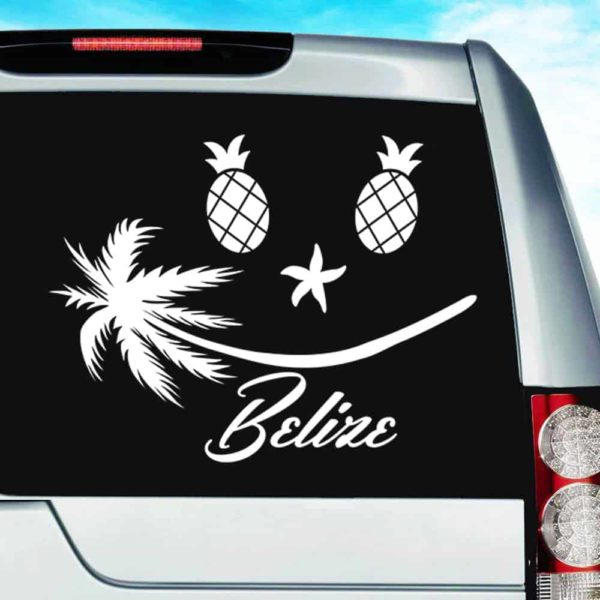 Belize Tropical Smiley Face Vinyl Car Window Decal Sticker