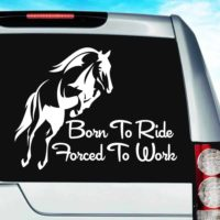 Born To Ride Horses Forced To Work Vinyl Car Window Decal Sticker
